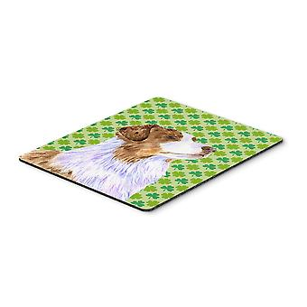 Australian Shepherd St. Patrick's Day Shamrock Mouse Pad, Hot Pad or Trivet