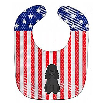 Carolines Treasures  BB3066BIB Patriotic USA Poodle Black Baby Bib
