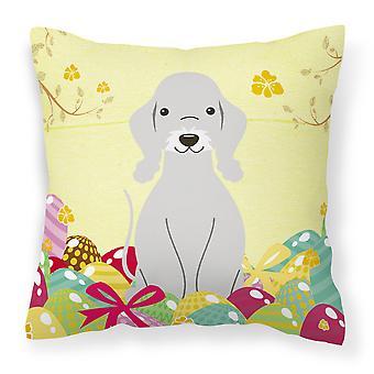 Easter Eggs Bedlington Terrier Blue Fabric Decorative Pillow