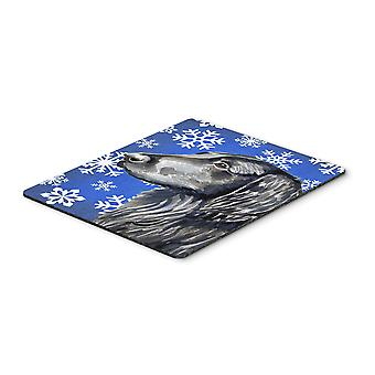 Flat Coated Retriever Winter Snowflakes Holiday Mouse Pad, Hot Pad or Trivet