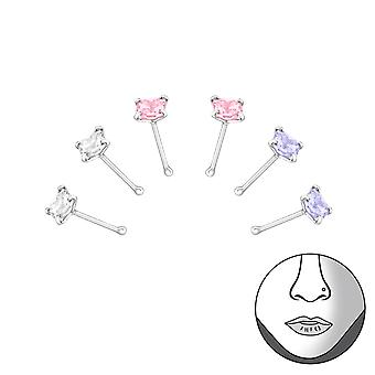 Square - 925 Sterling Silver + Cubic Zirconia Nose Studs