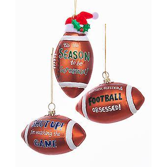 Fodbold skrigende besat ser spillet juleferien ornamenter sæt af 3