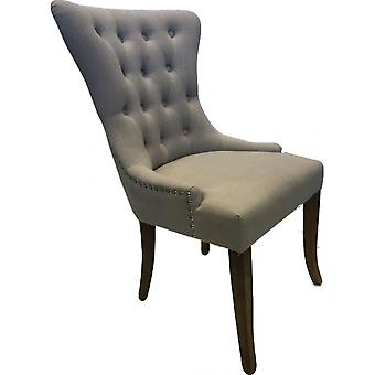Classic Roll Top Pu Dining Chair - Almond