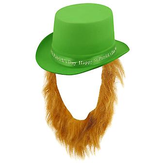 St Patrick's Day Green Topper Hat With Ginger Beard Fancy Dress Accessory