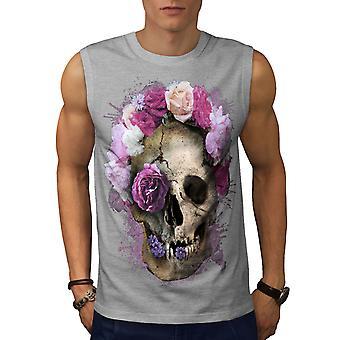 Skull Flower Rose Men GreySleeveless T-shirt | Wellcoda