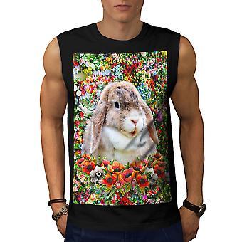 Bunny Cute Nature Animal Men BlackSleeveless T-shirt | Wellcoda