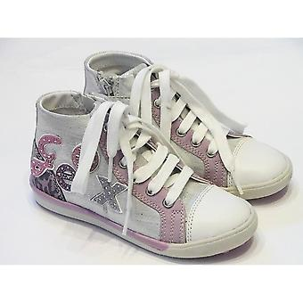 Geox Geox Carnival Girls Silver Shiny Hightops With Lace