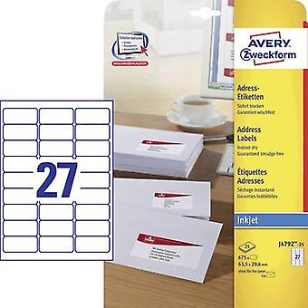 Avery-Zweckform J4792-25 Labels (A4) 63.5 x 29.6 mm Paper