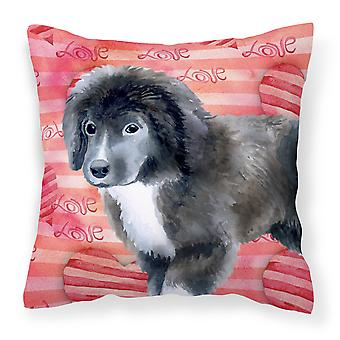 Newfoundland Puppy Love Fabric Decorative Pillow