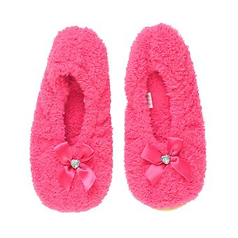 Ajvani womens elastic slip on fleece winter heart gem bow slippers socks