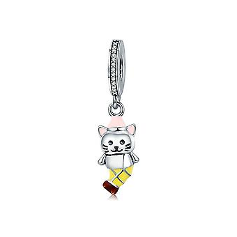 Sterling silver pendant charm Cute cat SCC625
