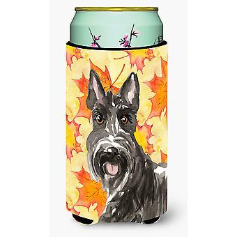 Fall Leaves Scottish Terrier Tall Boy Beverage Insulator Hugger