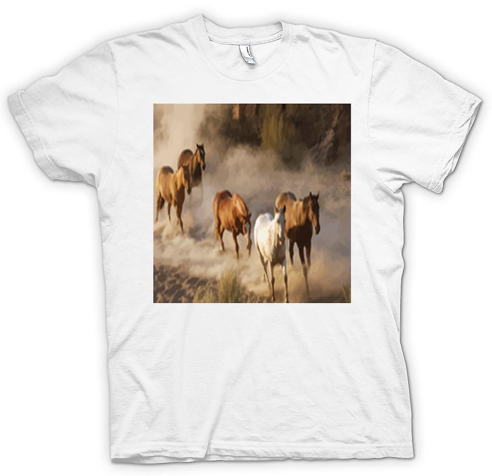 Womens T-shirt-op hol geslagen paarden Prairie Design