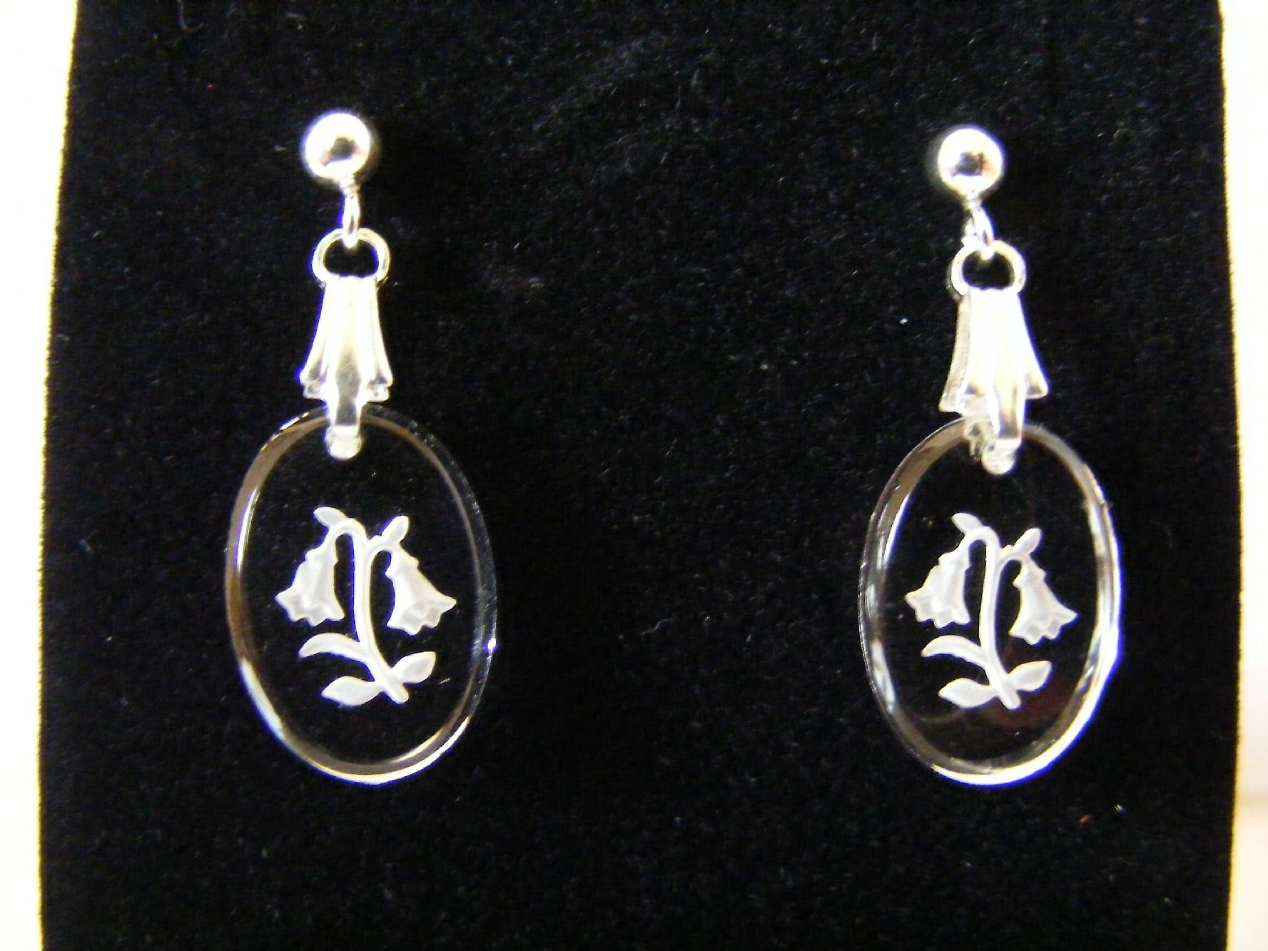 Frosted Bluebell Oval Crystal Earrings