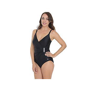 لون أسود زي واحد قطعة ملابس السباحة للمرأة SY006202A سيسبراي