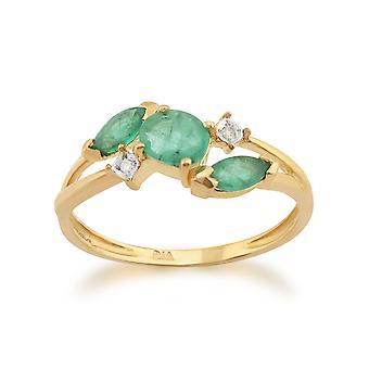 9ct Yellow Gold 0.60ct Natural Emerald & Diamond Classic Ring