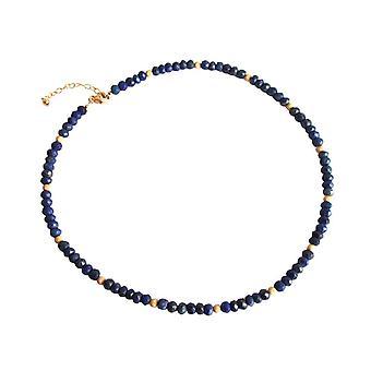 Gemshine - Damen - Halskette  - Lapis Lazuli - Facettiert - Blau - 45 cm