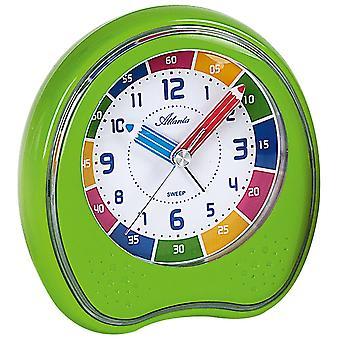 Atlanta 1953/6 wekker kinderen wekker groene rustig zonder tikken van de klok van leren voor kinderen