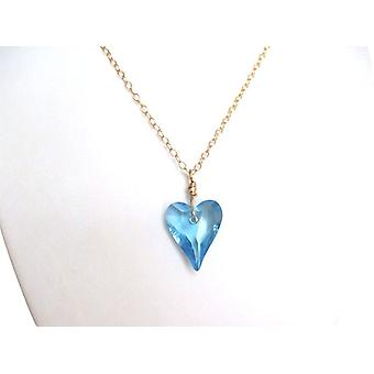 Light blue heart necklace crystal element RENÉE heart chain gold plated