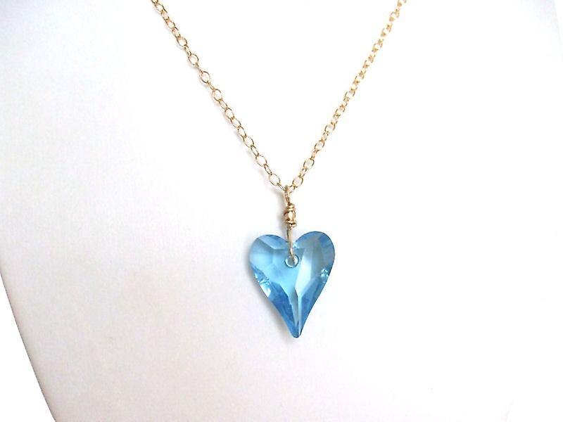 Herz Halskette hellbleu Kristall EleHommest RENÉE Herzkette veroret