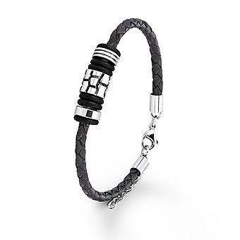 s.Oliver jewel mens leather bracelet dark brown stainless steel SO753/1 - 9074990