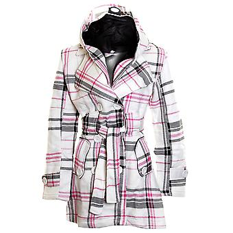 New Långärmad Belted Button Hooded Duffle Jacket Womens Coat