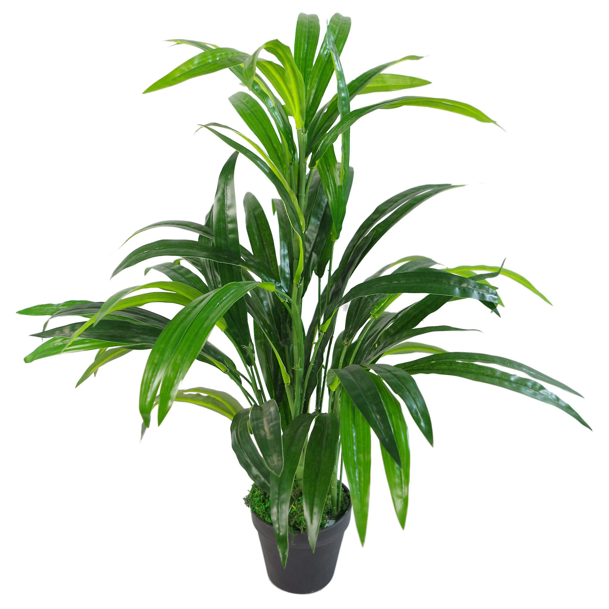 65cm Artificial Bamboo Leaf Shrub with Brushed Copper Planter