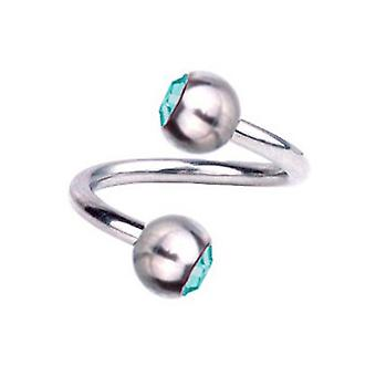 Spiral Twist Piercing Titanium 1,2 mm, SWAROVSKI ELEMENTS Aquamarine | 6 - 12 mm