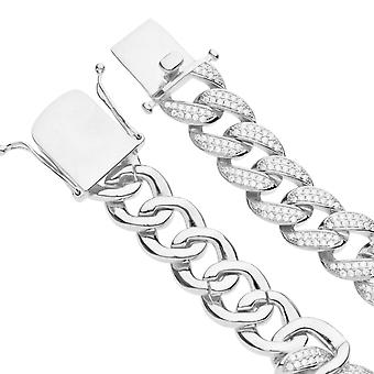 Premium Bling 925 Sterling Silber Armband - MIAMI CURB 14mm