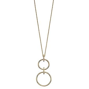 Elements Gold Double Circle Drop Necklace - Gold