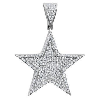 925 sterling silver micro pave hängen - stjärnigt