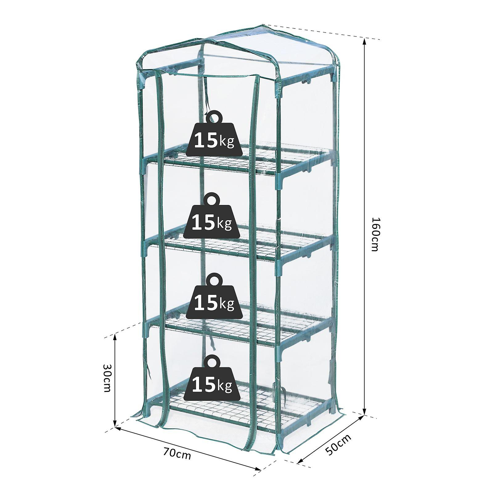 Outdoor Portable Greenhouse 4 Shelves Tier Garden Flower Plant Tall Clear Cover