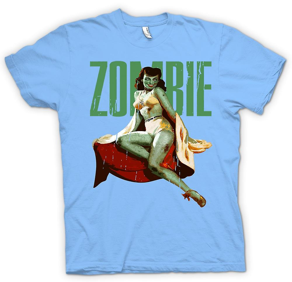 Mens t-skjorte - Vintage Zombie Pin Up - grønne Lady