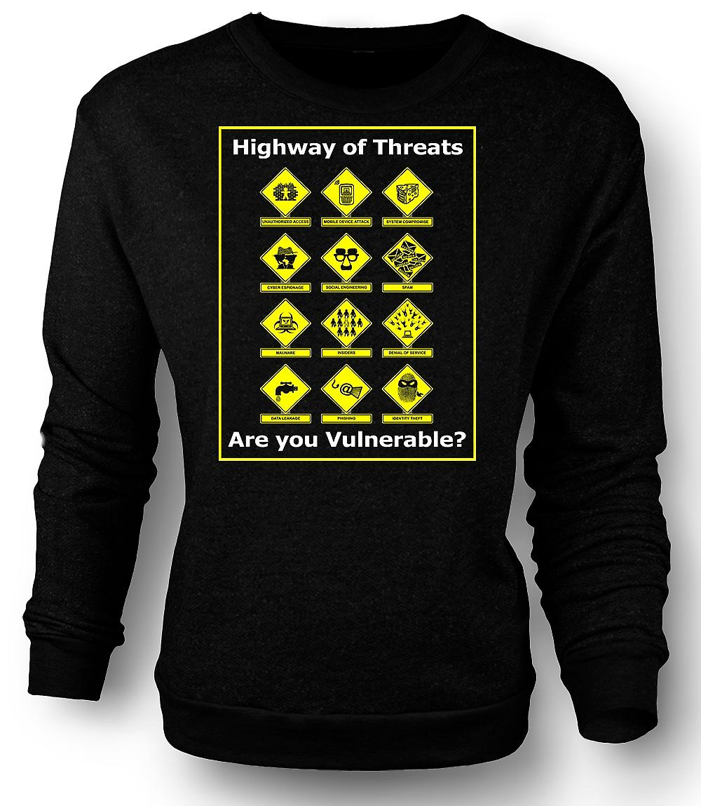 Mens Sweatshirt Internet Security Threats - Funny