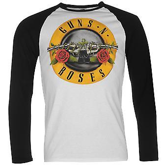 Official Mens Guns and Roses Raglan Top Cotton Print Long Sleeve Crew Neck Tee