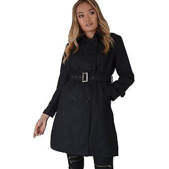 Lovemystyle Woolen Trench Coat In Dark Grey With Belt