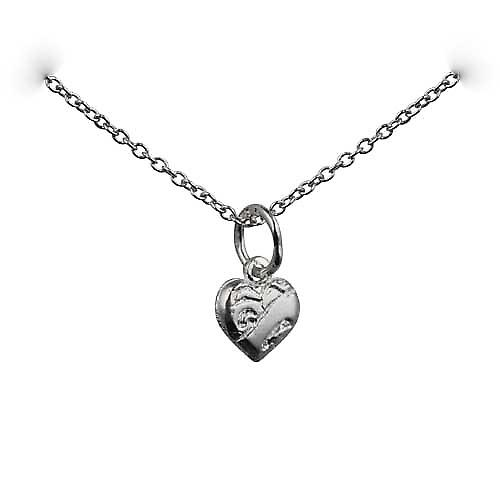 Silver 7x7mm heart symbol of charity Pendant with rolo chain