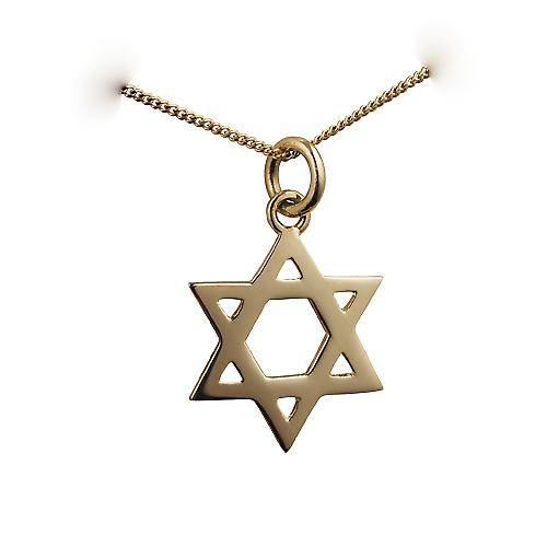 18ct Gold 18mm plain Star of David Pendant with a curb Chain 16 inches Only Suitable for Children