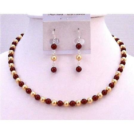 Gold & Wine Pearls Swarovski Pearls Necklace Prom Gift Jewelry Set