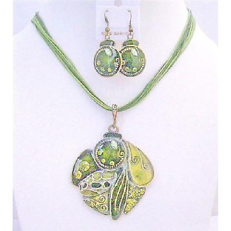 GIft Jewelery Under $15 High Quality Olivine Necklace Set Multi Stranded Olivine Christmas Party Jewelry