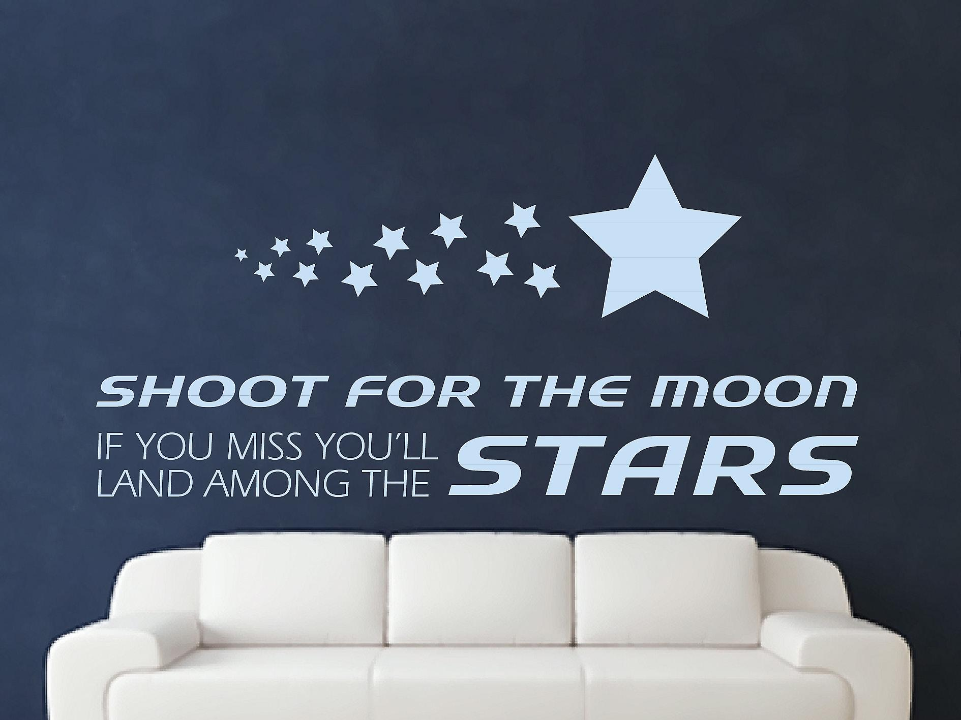 Shoot For The Moon Wall Art Sticker - Pastel Blue