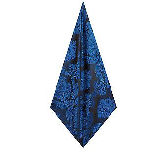 Dobell Mens Blue Pocket Square Handkerchief Satin Feel Fabric Victorian Jacquard Pattern Wedding Accessory