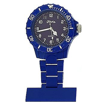 The Olivia Collection Navy Blue Rotating Bezel Plastic Nurses Fob Watch TOC63