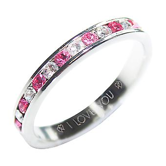 Ah! Jewellery 'I Love You' Engraving Rose & Clear Cubic Zirconia Eternity Band Sterling Silver