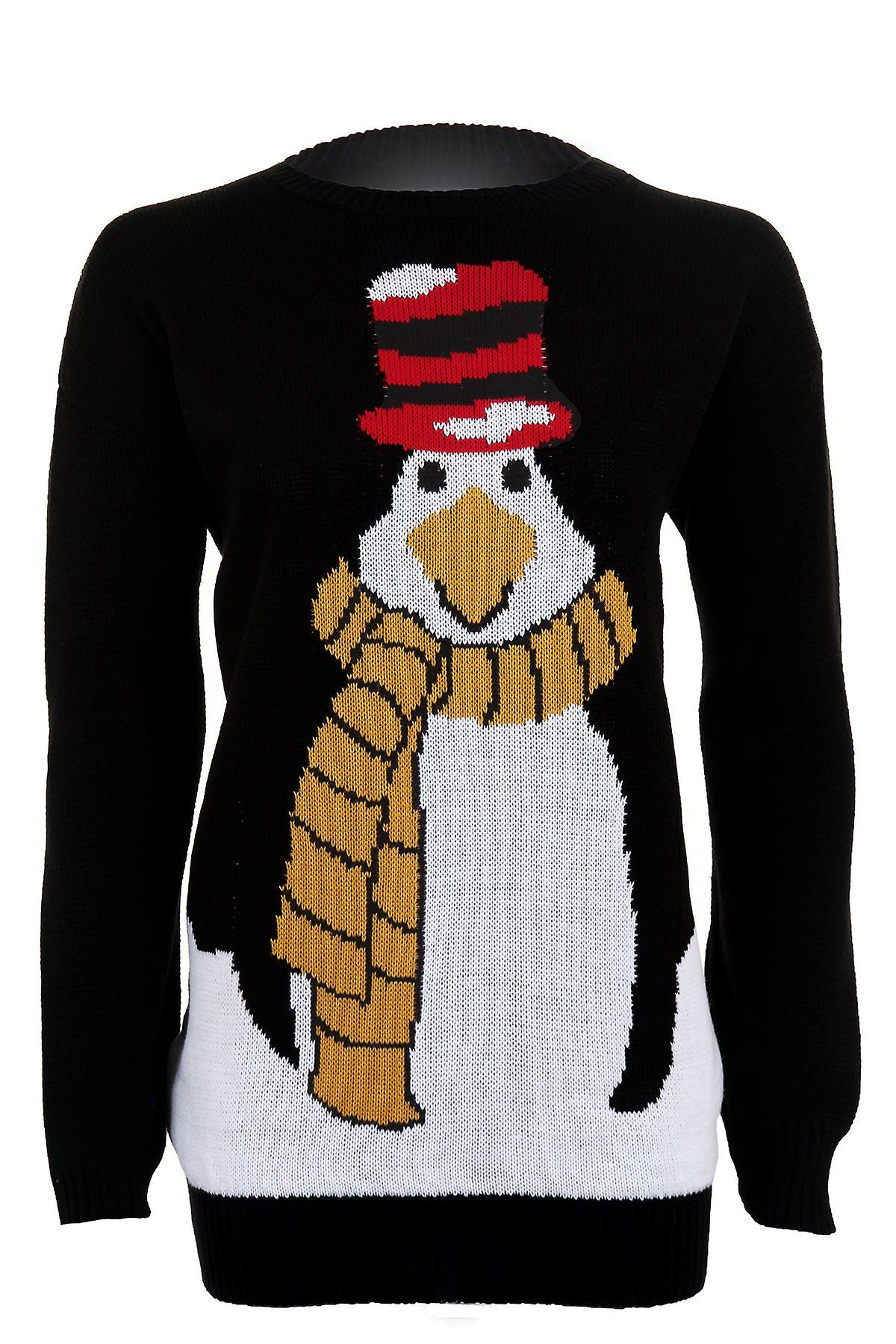 Women's Christmas Long Sleeve Penguin Festive Knitted Warm Winter Women's Jumper