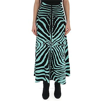 Laneus Light Blue/black Cotton Skirt