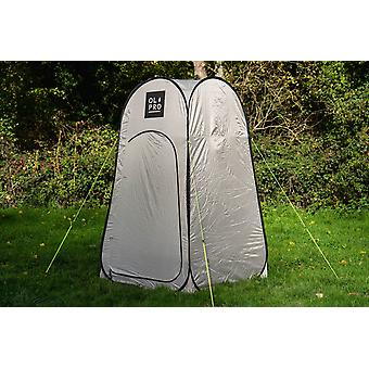 OLPRO Pop Up Toilet Tent Utility Grey and Orange 1 Window 1 Minute Pitching Time