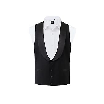 Dobell Herren schwarz Tuxedo Weste regelmäßige Fit Schal Revers