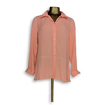 Joan Rivers Classics Collection Women's Top 2XS Silky Blouse Orange A288773
