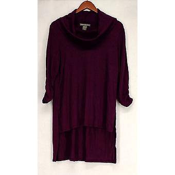 Kate & Mallory Sweater Cowl Neck Ruched Sleeves Side Slit Purple A428098